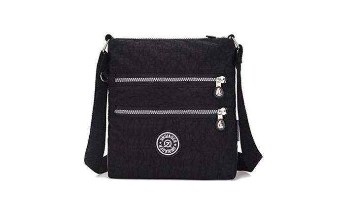 Zipper Pockets Water Resistant Nylon Fabric Crossbody Bag Shoulder ... c6765e58bb897