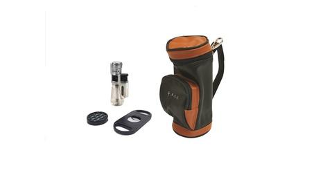 Golf Bag Gift Set Humidor Humidifier Triple Torch Lighter Cutter b38315e7-56de-4133-bc34-b13d54abc7b7