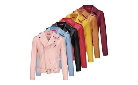Womens Moto Biker Jacket Slim Fitted Short PU Leather Coat Outwear 30b25306-40d6-4812-a897-aa3441e6c7b0