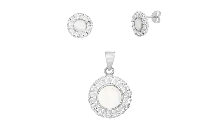 c039178b3 Sterling Silver Mother of Pearl Teardrop CZ Border Floral Pendant/Earring  Set