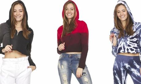 Long Sleeve Cropped Hoodie Sweatshirt for Women Half Zip Body Dip Tie Dye