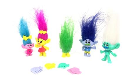 5pcs/set Trolls Doll Cartoon Toys Action Figures Model Toys Kid Gift 51c47f23-9b9a-43c9-8a8f-d9766a641036