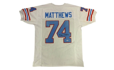 b9a6398d2 Autographed Bruce Matthews Houston Oilers White Custom Jersey (Goods  Entertainment Collectibles Sports Football) photo