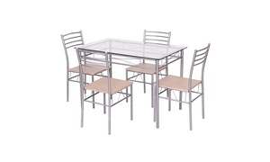 5 Piece Dining Set Table And 4 Chairs Glass Top Kitchen Furniture