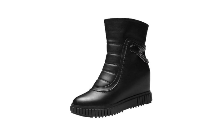 Women's PU Round Toe Fashion Boots Shoes