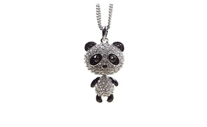 Fashional Cute Little Crystal Panda Pendant Sweater Chain Necklace