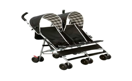 Delta Children DX Side by Side Double Umbrella Stroller, Black Plaid ca48ec9e-774b-435b-bc9f-de35aadce339
