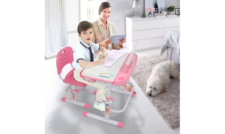 80Cm Hand-Operated Lifting Table Top Can Tilt Children's Study Table And Chair