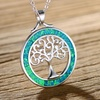 Green Jelly Opal Tree Of Life Pendant Necklace by Peermont