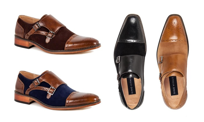 be5b89187d7 Gino Vitale Men s Double Monk Strap Two-Tone Loafers