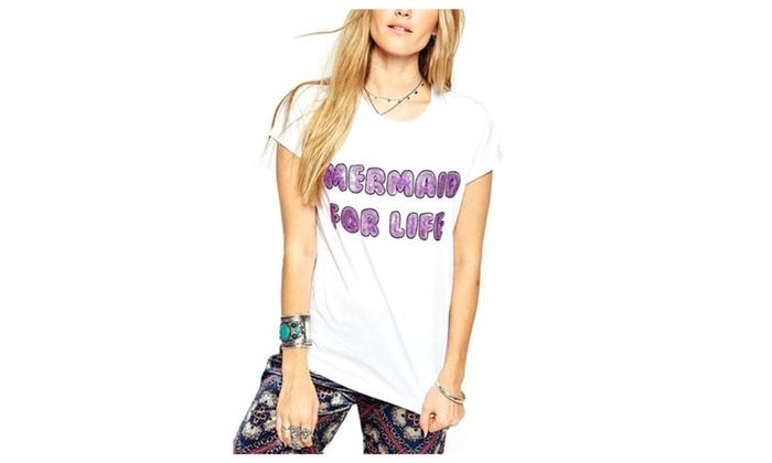 Women's Fashion Casual Glyph Printing Slim Fit Tee Shirt