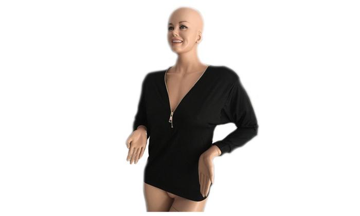 Women's Casual Pendant Zipper V Neck Long Sleeve Blouse