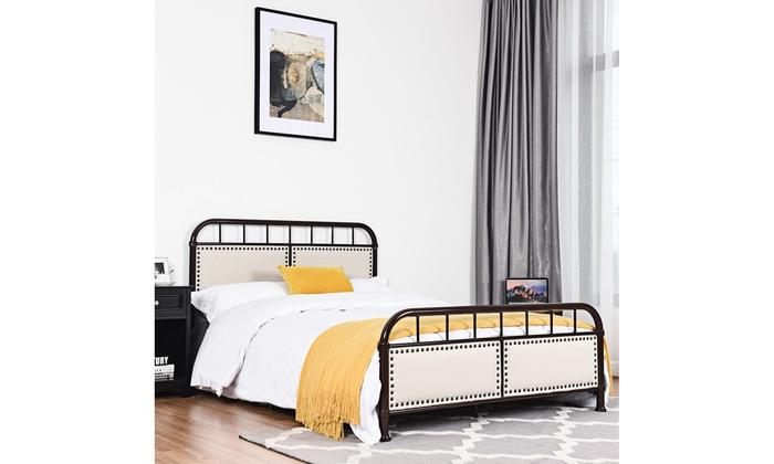 Full Size Metal Bed Frame Platform Bed Upholstered Panel Headboard Footboard Groupon