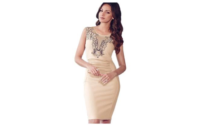 Women's Dress Sleeveless O-neck Slimming Body con Midi Dress Beige