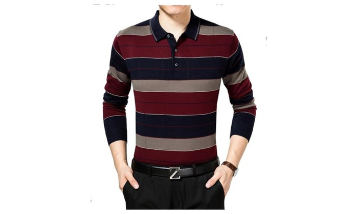 Men's Striped Simple Long Sleeve Pullover Loose Fit Tee Shirt