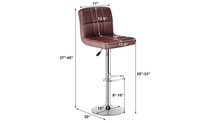 ... Set Of 2 Bar Stools PU Leather Adjustable Barstool Swivel Pub Chairs  Brown