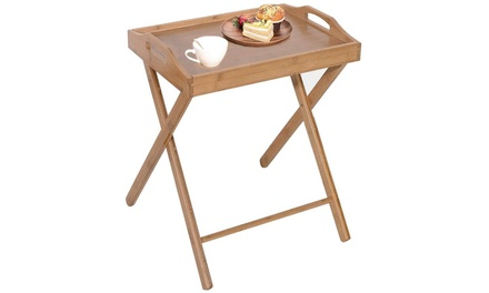 Bamboo Folding Table Breakfast TV Tray Tables