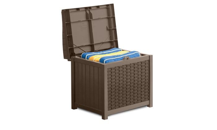 ... Suncast SSW1200 Mocha Resin Wicker 22  Gallon Storage Seat
