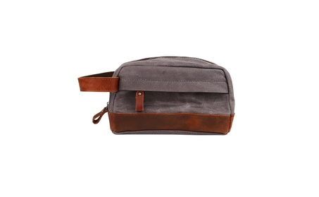 Classic Waterproof Canvas Leather Toiletry Bag for Shaving Kit Makeup