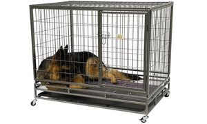 GoPetClub Heavy-Duty Steel Pet Crate