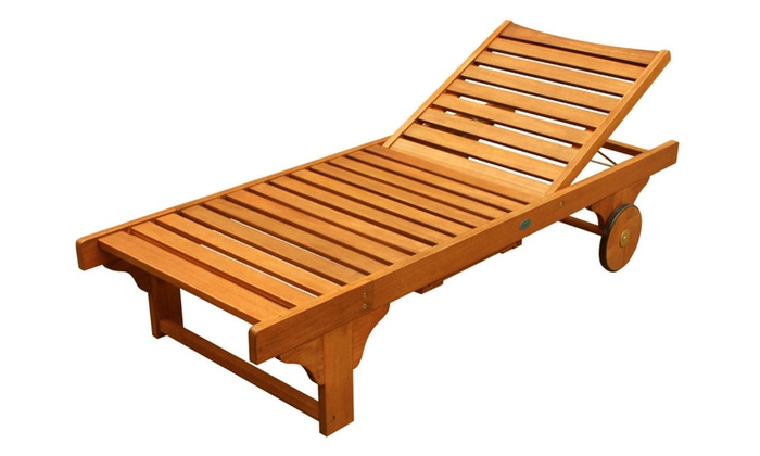 ALK Brands: LuuNguyen - Lindy Outdoor Hardwood Chaise Lounge (Natural Wood Finish)