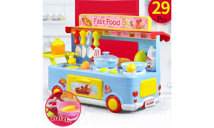 29Pcs Children/'s Campus Fast Food Bus Cooking Pretend Role-playing Toy Set H