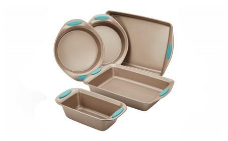 Rachael Ray Nonstick Bakeware 5-Piece Set, Latte Brown with Blue Grips 0da8f788-53c1-45e8-9135-76bb363ca2e7