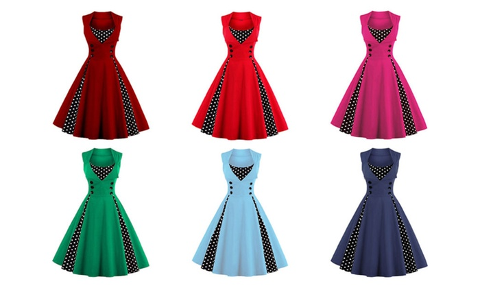 Midi Polka Dot Prom Rockabilly Swing Vintage Prom Dresses | Groupon