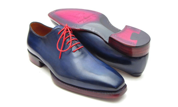 Paul Parkman Goodyear Welted Wholecut Oxfords Navy Blue Hand-Painted