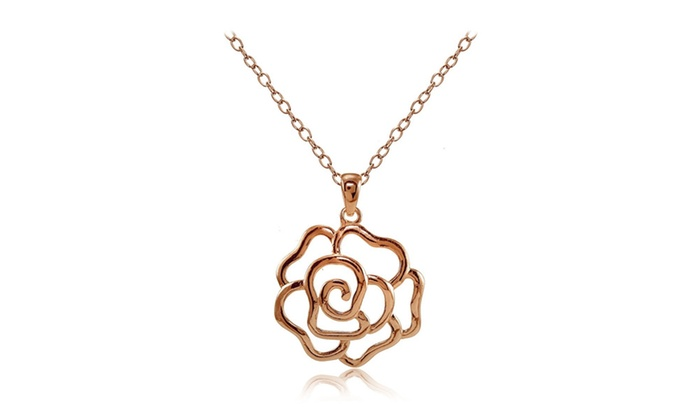 Rose gold flashed sterling silver high polished open rose necklace mozeypictures Gallery
