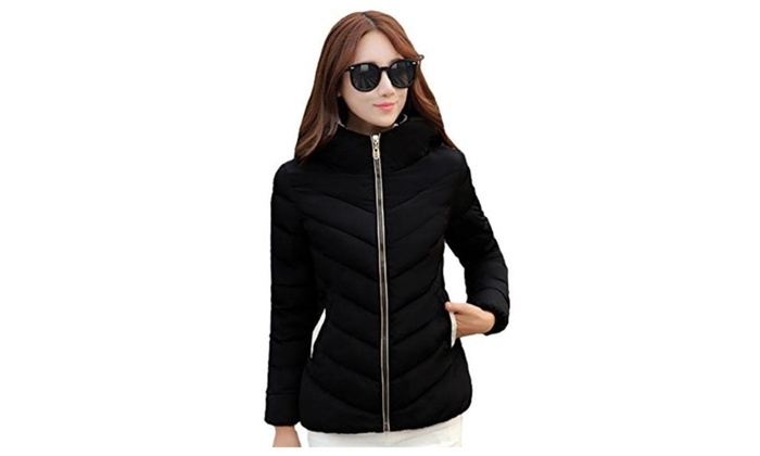 Hooded Puff Mountain Snow Ski Quilted Wadded Thin Short Puffer Jacket
