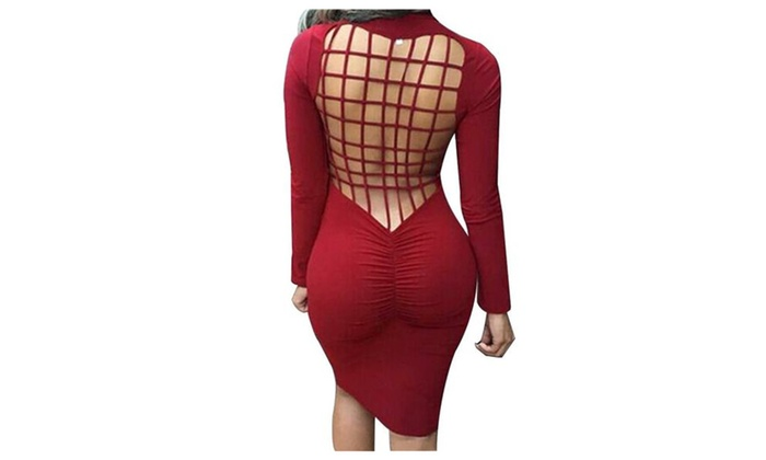Womens Sexy Back Mesh Cross Cut Stretch Bandage Party Evening Dresses