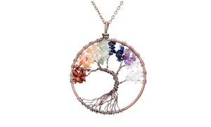 Handmade Genuine Gemstone Chakra Tree of Life Pendant Necklace