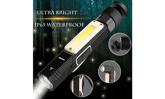 USB Rechargeable Magnetic Work Light Flashlight LED COB Torch Headlight Camping