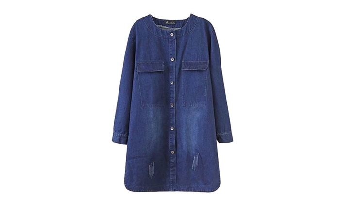 Women's Casual Ribbed Hem Buttons Up Slim Fit Denim Jacket