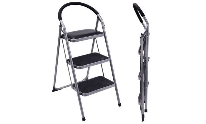 Awesome Costway Non Slip 3 Step Ladder Lightweight Folding Stool Evergreenethics Interior Chair Design Evergreenethicsorg