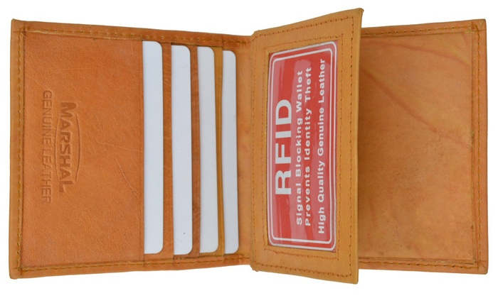RFID SIGNAL BLOCKING SAFE MEN/'S LEATHER ID CARDS TRIFOLD WALLET FLAP TOP NEW
