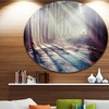 Strong Sunbeams in Thick Forest' Landscape Photography Circle Metal Wall Art