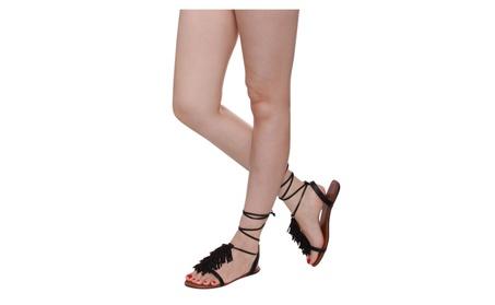 Beston IA74 Women's T-strap Tassels Ankle Laces Flat Sandals afd691db-55b4-4654-ba28-59197d3cff5c