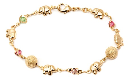 18K Gold Plated Elephant and Light Multi Color Crystals Anklet Bracelet
