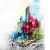 Urban Cityscape - Abstract Artistic City Sketch Art