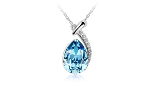 Simulated Sapphire Tear Drop Crystal Pav'e Necklace By Golden NYC Jewelry