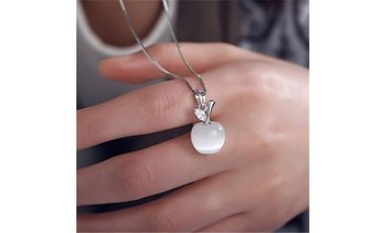 18K White Gold Plated Opal Apple White Apple Pendant Necklace