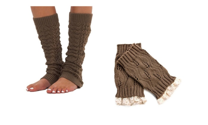 Women's Crochet Style Knitted Buttoned Leg Warmers Two Packs