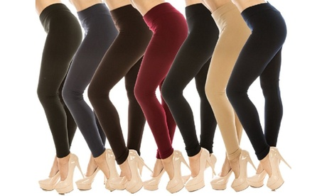 4 Pack Women's Ultra-Soft Warm Fleece Lined  Solid Leggings Pant