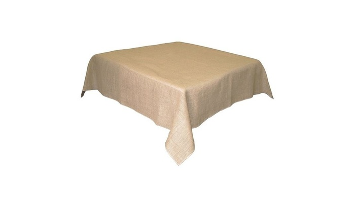 LA Linen TCBurlap52x52 Natural Square Burlap Tablecloth Natural   52 X 52  In.