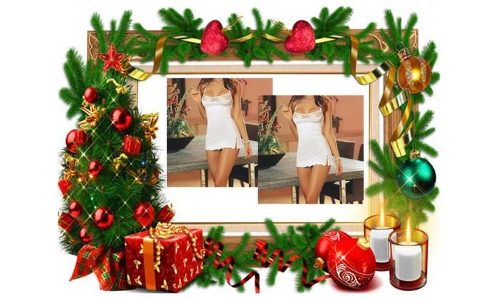 Ladies Underwear White Lace Babydoll Sleepwear+1pcs Free for Christmas