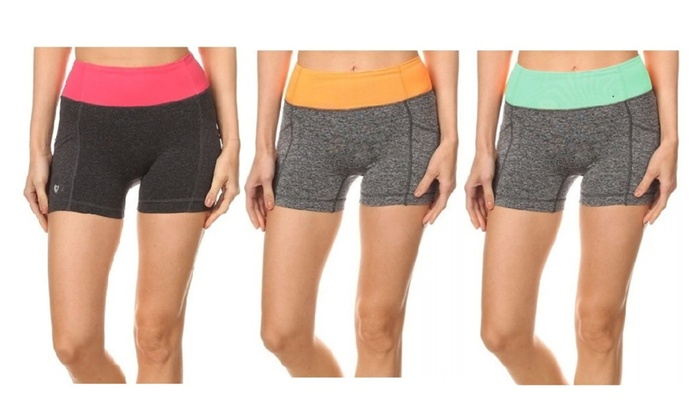 3 Pack Women's Running Shorts with Phone Pocket