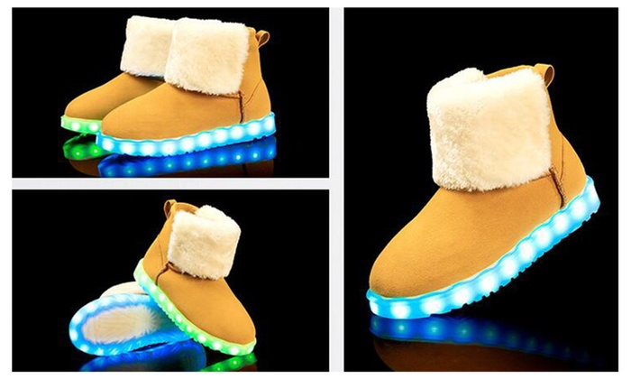 Women USB Charging Light Up Shoes LED Light Snow Boots