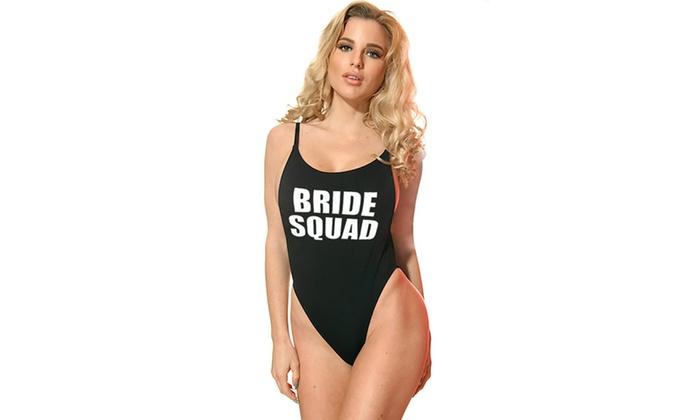 1092-bridesquad Bride Squad Womens High-Cut Vintage One Piece